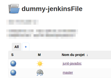 A sample project folder in Jenkins 2